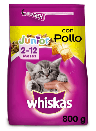 Whiskas - Pienso para gatos junior con sabor Pollo